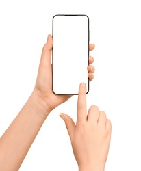 touching smartphone screen with copy space. female hands and smartphone isolated on white background