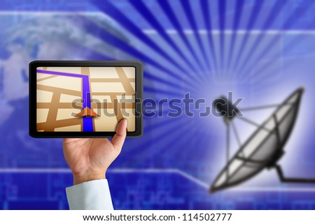 Touchpad gps with Satellite dish transmission data