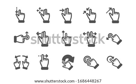 Touchscreen gesture icons. Hand swipe, Slide gesture, Multitasking icons. Touchscreen technology, tap on screen, drag and drop. Classic set. Quality set. Stockfoto ©