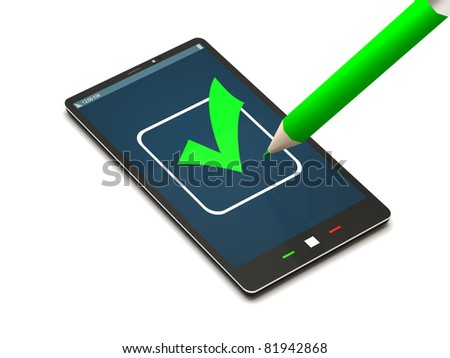 Touchscreen Smart Phone  with Check Mark on White Background