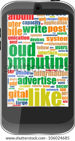 Touchscreen smart phone with social word cloud isolated on white background. Raster