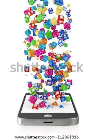 Touchscreen Smartphone with Application Icons isolated on white background
