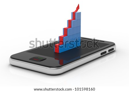 Touchscreen smartphone with business graph. Abstract 3d illustration.