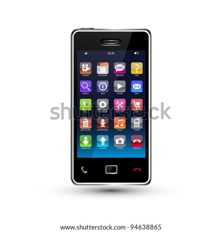 touchscreen smartphone with colorful application icons, vector version also available in my portfolio