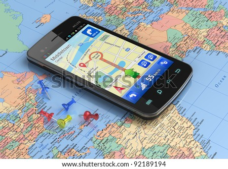 Touchscreen smartphone with GPS navigation on world map