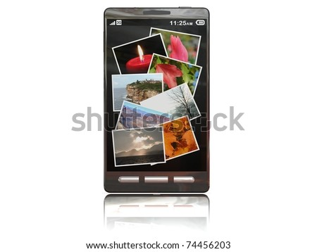 touchscreen smartphone with the gallery open