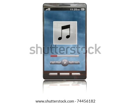 touchscreen smartphone with the music app open