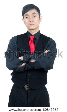 Tough Asian man in black
