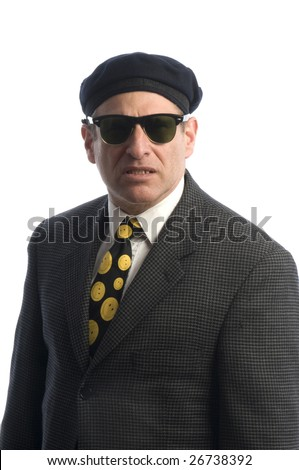 tough looking spy secret service fbi man with sunglasses and french beret hat