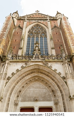 Toulouse, France. Detail of the beautiful Saint Sernin church. It is an ancient medieval church destination of religious pilgrimage on the way to Santiago of Compostela