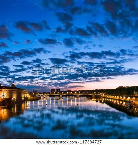 Toulouse, France. Hotel de Ville, Pont de Saint Pierre (Saint Pierre bridge).