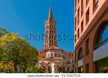 Toulouse, France. Saint Sernin church. It is an ancient medieval church destination of religious pilgrimage on the way to Santiago of Compostelay. Bell tower the Saint Sernin church.