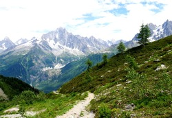 Tour around Mont Blanc in the Alps