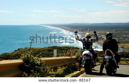 Tour bike pair reach their goal, West Coast, New Zealand Coastal Vista
