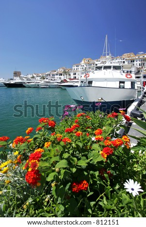 Tour boats and flowers in Puerto Banus Marina with sunny blue sky