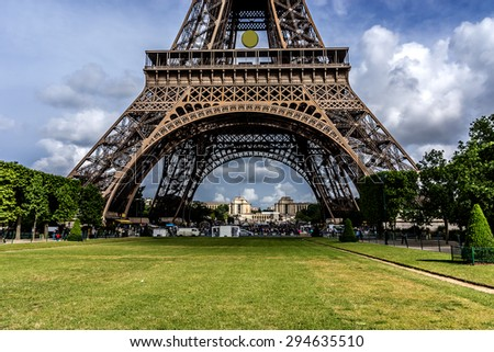 Tour Eiffel (Eiffel Tower) located on Champ de Mars in Paris. Eiffel Tower is tallest structure in Paris and most visited monument in the world. France.  Stock photo ©