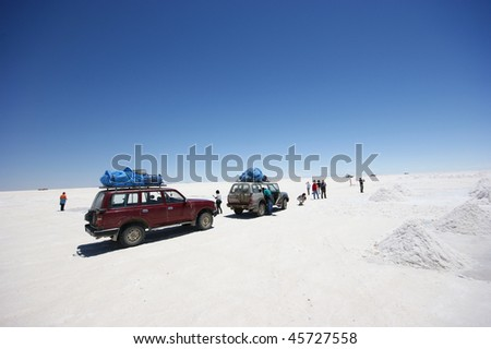 tour jeeps salar de uyuni - stock photo