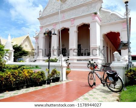 Touring bike in the temple,culture city tour,Wat supatnaram ,Ubonratchatani,Thailand #1178944027
