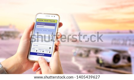 Tourism booking user interface. Young Girl in the airport with a phone in her hands and app or web page in the screen. Young woman. Millennial. Tourism business. Smartphone Application. #1405439627