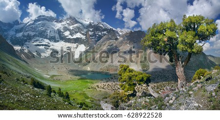 Tourism in Tajikistan, valley in the Fan Mountains, panorama nature #628922528