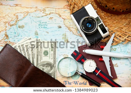 Tourism planning equipment for trip and accessories , Holidays vacations summer   concept, top view. #1384989023