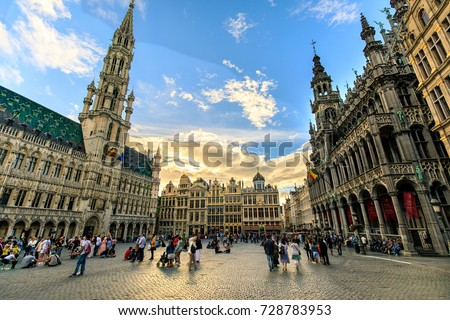 tourist at the grand place in...