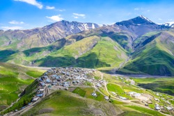 Tourist attraction of Azerbaijan - incredible mountain village in the Caucasus mountain, Xinaliq (Khinalug)