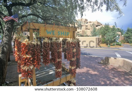 Tourist attraction with red chilies in Town Square, Santa Fe, New Mexico