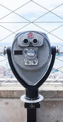 Tourist binoculars on the top of Empire State Building