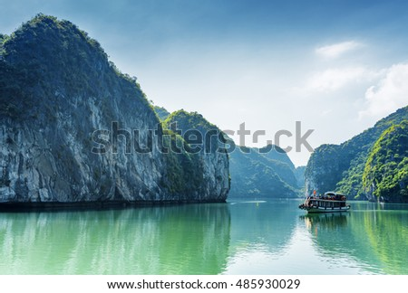 tourist boat in the halong bay  ...