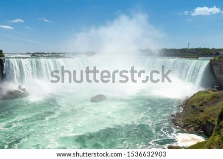 Tourist Boat observing Horseshoe Falls at the Niagara Falls #1536632903