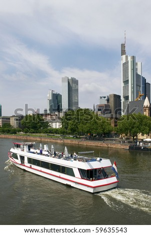 Tourist boat on Main River, Frankfurt am Main, Germany