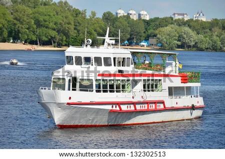 Tourist boat on the Dnieper river, Kiev, Ukraine