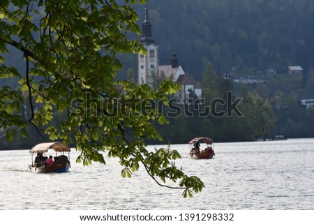 Tourist boats carrying tourists to the island