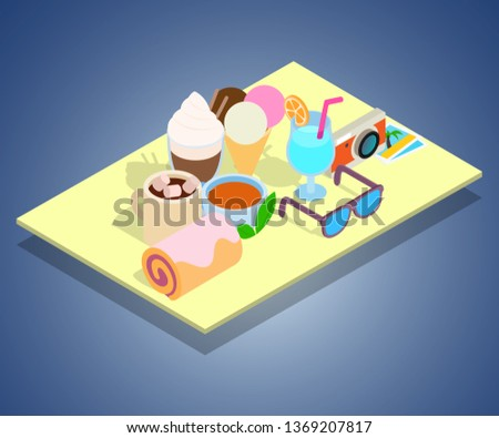 Tourist breakfast concept banner. Isometric banner of tourist breakfast concept for web, giftcard and postcard