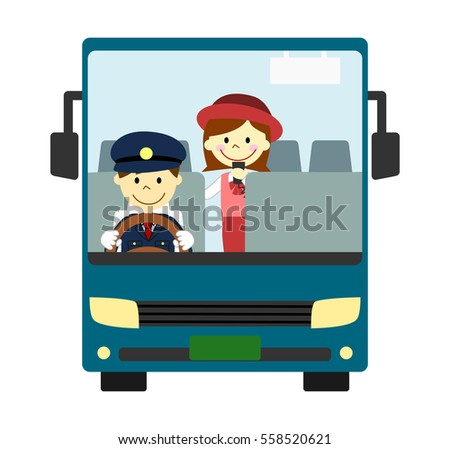 Tourist bus with driver and guide