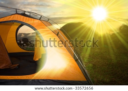 tourist camp in a morning