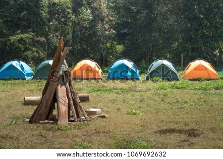 Tourist camp with fire, tent and firewood #1069692632