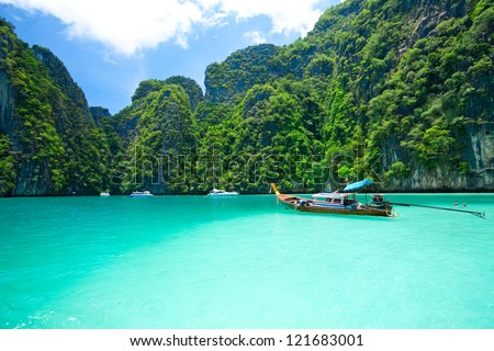 tourist diving in the sea Phi Phi Leh south of Thailand