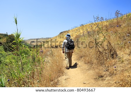 Tourist going to drought summer on edge of a ravine at which bottom streams not drying up stream and all green vegetation concentrates along this stream (Golan Heights. Israel) - stock photo