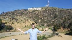 tourist Hollywood sign men