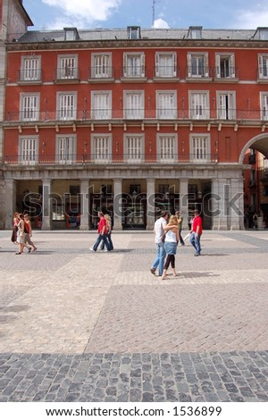 Tourist in Plaza Mayor, Madrid