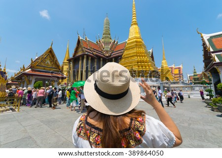 Tourist in Wat Phra Kaew in Bangkok, Thailand.