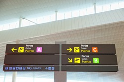 Tourist info signage in airport in international language