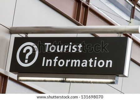 Tourist information directional sign at airport