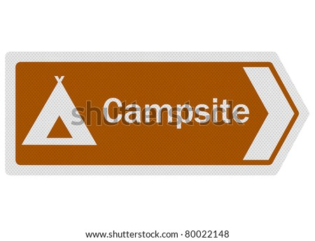 Tourist information series: photo-realistic metallic, reflective 'Campsite' sign, isolated on white