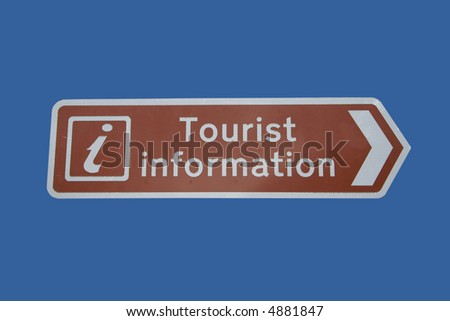 Tourist information sign with symbol isolated on blue