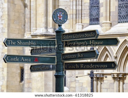 Tourist information signpost outside of York Minster
