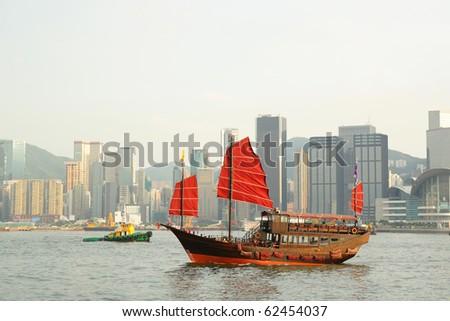 tourist junk in Hong Kong