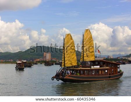 Tourist Junks in Halong Bay, Vietnam. - stock photo